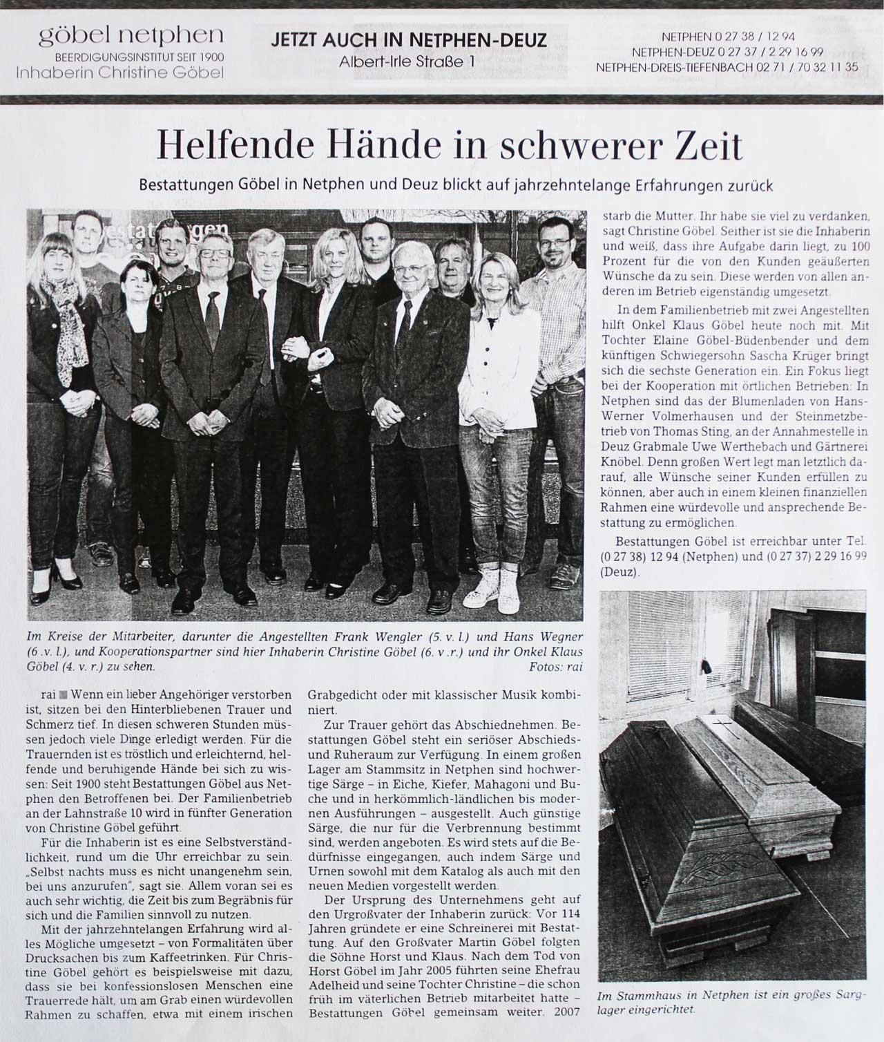 Göbel Bestattungen Artikel in der Siegenerr Zeitung